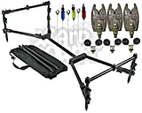 Carp Fishing Compact Black Rod Pod Setup With 3 Bite Alarms Hanger Indicators & Ball Rests