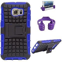 DMG Dual Hybrid Hard Grip Rugged Kickstand Armor Case for Samsung Galaxy S6 Edge (Blue) + Mobile Holder Hand Stand