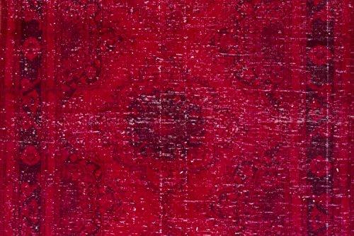 4.8 X 12.4 Feet Red & Burgundy Color Overdyed Handmade Vintage Turkish Runner