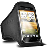 ONX3 HTC Desire X Black Adjustable Strap Jogging Walking Sports Armband