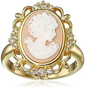 Sterling Silver Created White Sapphire and Pink Cameo Ring, Size 7