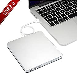 VicTsing CD/DVD-RW Burner Writer external hard drive for Apple Macbook, Macbook Pro, Macbook Air or other Laptop/Desktops with USB3.0 Cable -Silvery