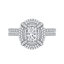 buy Halo Diamond Engagement Ring With Matching Band In White Gold (1 5/8 Cttw)