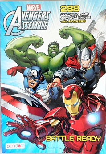 Marvel Avengers Assenbke 288 Coloring & Activity Pages with Stickers ~ Battle Ready