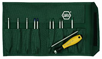 Wiha 26985 System 4 ESD Safe Drive-Loc Slotted 1.5-4.0 and Phillips 000-1 and Torx T1-T15, Interchangeable 12-Piece Set