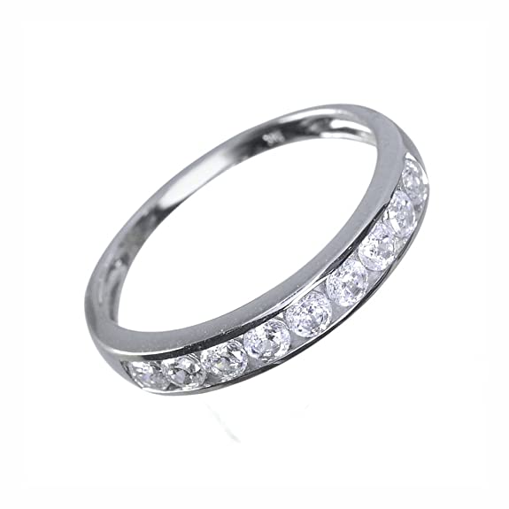 Ivy Gems 9ct White Gold 0.5ct Finest 100 Cut Swiss Cubic Zirconia Channel Set Half Eternity Ring