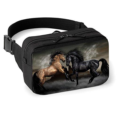 astratto-10063-cavallo-unisex-nero-marsupio-anca-cintura-borsa-regolabili-cinghia-con-e-motivo-color