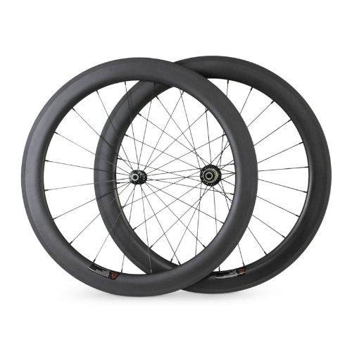 [ノーブランド品] 1300G グラム軽量カーボンホイール中国60カーボンチューブラーホイールセットのロードバイクの車輪 …