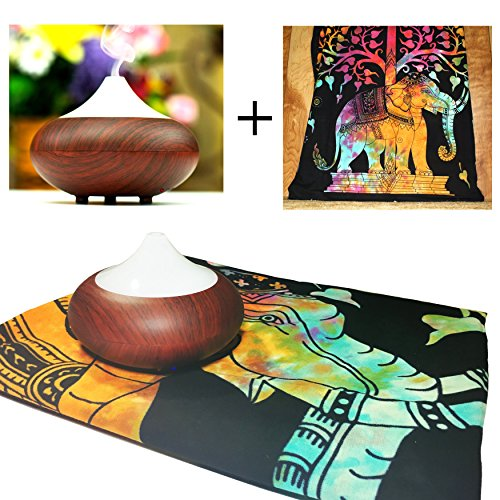 Your Spirit Space 160ml Aromatherapy Essential Oil Diffuser and Rainbow Elephant Tapestry (Cherry Shaped Air Freshener compare prices)