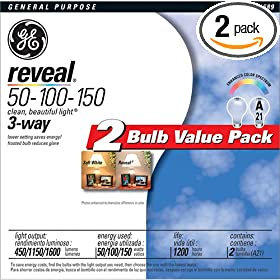 GE 97469 50/100/150-Watt 450/1150/1600-Lumen A21 3-Way Light Bulb, Frosted Reveal, 2-Pack
