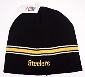 Pittsburgh Steelers NFL Black Cuffless Knit Beanie Cap Hat Authentic & NEW