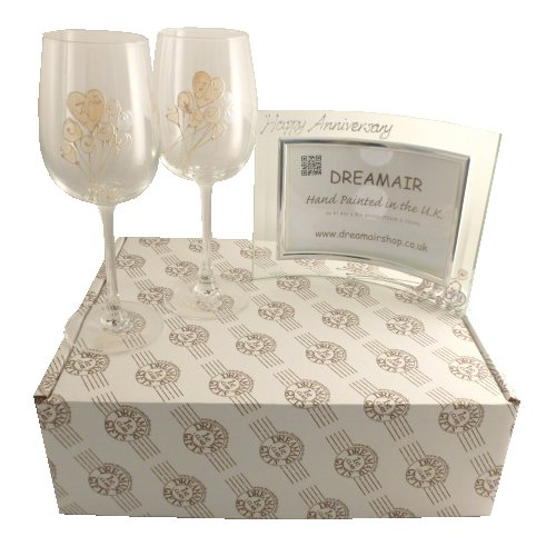 30th Pearl Wedding Anniversary Wine Glasses and Photo ...