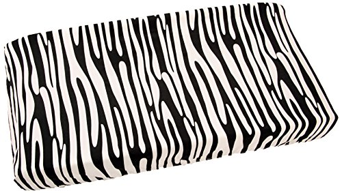 One Grace Place Jazzie Jungle Boy Changing Pad Cover, White and Black - 1