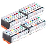 4 Compatible Sets of 8 Canon CLI-8 Printer Ink Cartridges (8 Inks) - Black / Cyan / Magenta / Yellow / Photo Cyan / Photo Magenta / Green / Red for Canon Pixma Pro 9000 & Pro 9000 Mark II