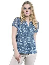 KASHANA Viscose Sky Blue Lace Pattern Cap Sleeve Women Ladies Casual Top