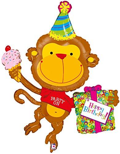 "Party on Happy Birthday Monkey 49"" Mylar Balloon Large"