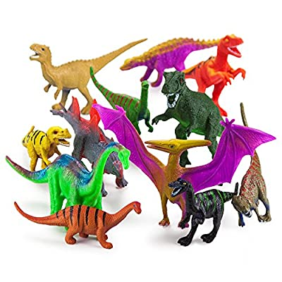 """Set of 12 Large 7"""" Dinosaur Assortment with Plastic Storage Drum by Imagination Generation by Imagination Generation"""
