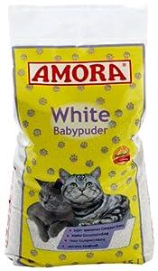 Amora 28330 White Katzenstreu mit Babypuderduft 15 Liter
