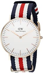 Daniel Wellington Women's 0502DW Classic Canterbury Stainless Steel Watch With Multi-Color Striped Band