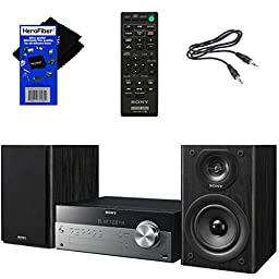 Sony All In One Stylish Micro Music Stereo System with Wireless Streaming NFC (Near Field Communications), Bluetooth, USB, CD player & AM/FM tuner + Remote + Aux Cable + HeroFiber® Cleaning Cloth