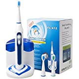 CUH Ultrasonic Toothbrush Built-in Uv Sanitizer High Powered 40,000vpm Deep Clean Cordless and Rechargeable Long Lasting Battery Life 3 Replacement Brush Heads 5 Brushing Modes Waterproof (White & blue)
