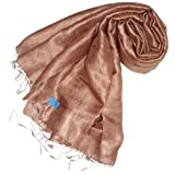 100% Silk Pashmina Shawl Wrap Throw - Caramel Brownby Pashminas4u