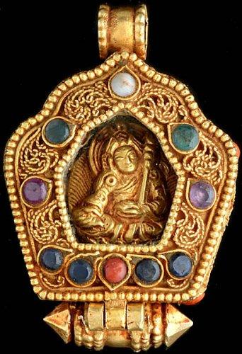 Guru Padmasambhava Gemstone Gau Box Gold Plated Pendant (Coral, Turquoise, Emerald, Black Tourmaline