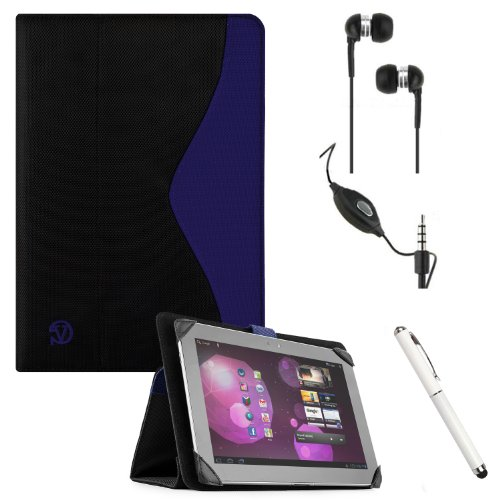 The New Soho Hard-Shell Portfolio Nylon Construction Lightweight Sturdy Stand Alone Smart Case (Blue With Black) For Gigabyte S1082 / Huawei Mediapad 10 Fhd / Insignia Flex / Linsay Cosmos F-10Hd / Nabi 2 / Skytex Imagine 9 & 10 Android Touch Screen Table