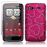 HTC SENSATION XE LOVE HEARTS DESIGN DIAMANTE CASE / COVER / SHELL / SHIELD + SCREEN PROTECTOR PART OF THE QUBITS ACCESSORIES RANGEby Qubits