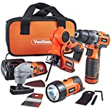 VonHaus 12V Li-ion Cordless Power Tool Combo 4 Piece Set Kit incl 2-Speed Drill / Driver, Multi-Purpose Saw, Multi Oscillating Tool, Flash Light / Torch with 1 Hour Charging Time and Carry Case