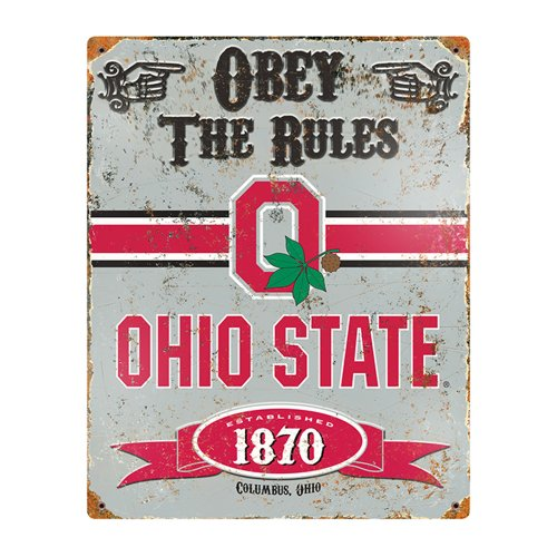 Party Animal Sports Fan NCAA Team Ohio State Buckeyes Embossed Metal Sign