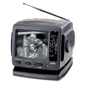 "Jwin Jvtv1010B 5.5"""" B&W Ac/Dc Portable Tv With Am/Fm Radio (Black) """