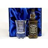 Personalised 1oz Shot Glass & Jack Daniels in Silk Gift Box For 18th/21st/30th/Birthday/Best Man/Usher/Wedding Gift