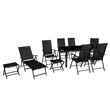 vidaXL Set de Muebles de Jardín Plegables 10 Piezas Aluminio de Color Negro