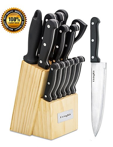 LivingKit Stainless Steel Kitchen Knife Block Set Block 14 Piece For Home Cooking Culinary School Commercial Kitchen (Knife Set Commercial compare prices)