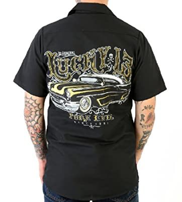 '54 Oldsmobile Rocket 88 Hot Rod Car Work Shirt by Lucky 13, Pure Evil