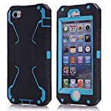 Vogue shop iPhone 5S Case, [Robot Series] iPhone 5S New Robot Case 3 in 1 3-piece Combo Hybrid Defender High Impact Body Armor Hard PC & silicone Case,Protective Cover for Apple iPhone 5S with Screen protector Aesthetic design (black/blue)