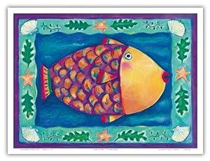 Humuhumunukunukuapua'a - Hawaiian Reef Trigger Fish - State Fish of Hawai'i - Original Color Painting by Deybra Faire - Hawaiian Master Art Print - 9in x 12in