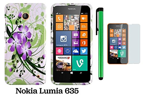 Nokia Lumia 635 Premium Pretty Design Protector Hard Cover Case (Us Carrier: T-Mobile, Metropcs, And At&T) + Screen Protector Film + 1 Of New Assorted Color Metal Stylus Touch Screen Pen (Vivid Splash-Ink Painting Purple Green Flower On White)