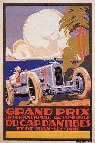 """Grand Prix International Automobile Du Cap D'Antibes Et De Juan Les Pins Car Race France 16"""" X 24"""" Image Size Vintage Poster Repro On Canvas"""