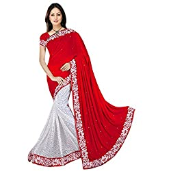 Mahadev Half Half Party Wear Velvet & Net Jacquard Saree for Women with embroidered work lace and blouse(Red , Free size , MRC_14 ) ( with discount and sale offer)