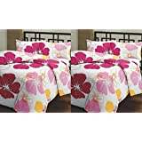 Renown Pink Flower Floral Prints Reversible Single Bed AC Blanket / Dohar Combo Set Of 2 Pc