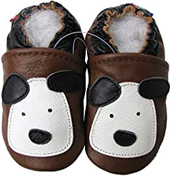 Carozoo baby boy shoes soft sole leather infant toddler kids slippers Little Puppy Brown 12-18m