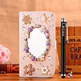 Locaa(TM) HTC Desire 620 HTC620 3D Bling Case + Phone stylus + Anti-dust ear plug Deluxe Luxury Crystal Pearl Diamond Rhinestone eye-catching Beautiful Leather Retro Support bumper Cover Card Holder Wallet Cases - [General series] magic mirror