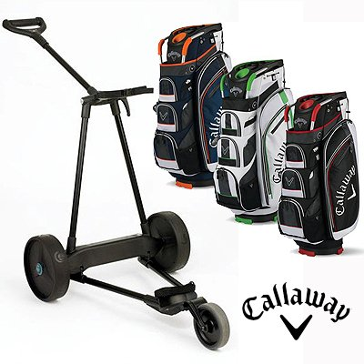 New! Emotion E3 23Lbs Pull Push Electric Motorized 3-Wheel Golf Cart Trolley + New! Callaway Org Xt Cart Bag