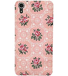 PrintDhaba Floral Pattern D-2112 Back Case Cover for HTC DESIRE 728 (Multi-Coloured)