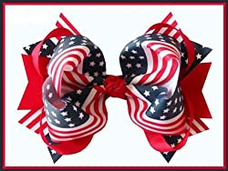 "4th of July 5"" Loopy Hair Bow (Red)"