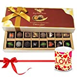 Valentine Chocholik Belgium Chocolates - Sweet Happiness With Dark And Milk Chocolates With Love Mug