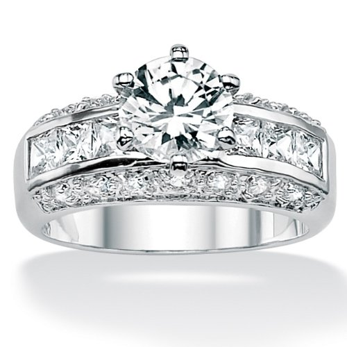 Round Cubic Zirconia Platinum Over Sterling Silver Engagement Anniversary Ring