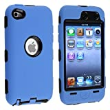 eforCity Hybrid Case for Apple iPod touch 4G - Black Hard/Blue Skin ~ eForCity